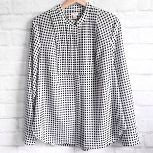 J. Crew Printed Drapey Tuxedo Top in Gingham